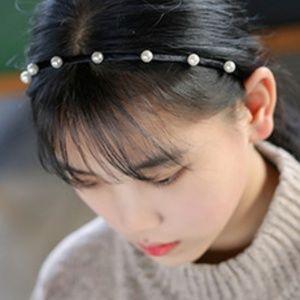 New! Faux Pearl Bridal Headband Black